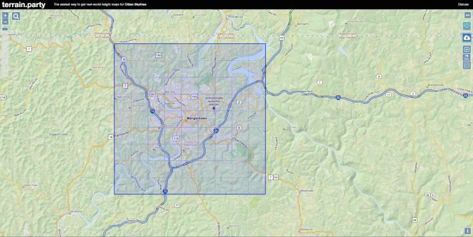 Morgantown area highlighted in terrain.party